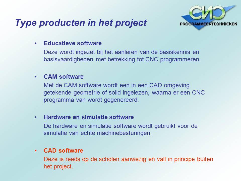 Educatieve software Deze wordt ingezet bij het aanleren van de basiskennis en basisvaardigheden met betrekking tot CNC programmeren. CAM software Met
