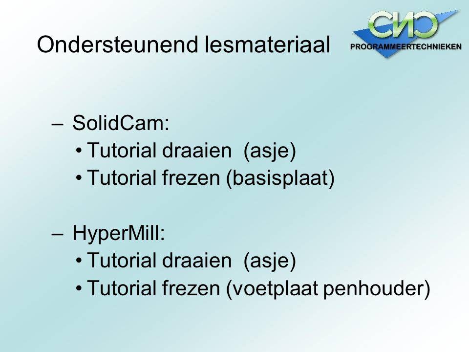 Ondersteunend lesmateriaal – SolidCam: Tutorial draaien (asje) Tutorial frezen (basisplaat) – HyperMill: Tutorial draaien (asje) Tutorial frezen (voet