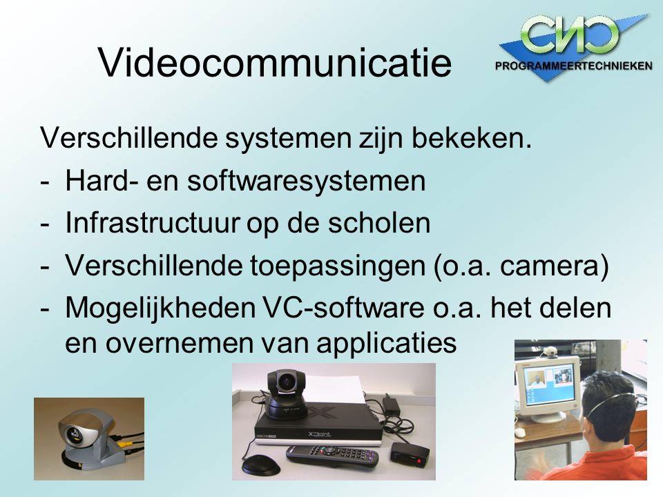 Videocommunicatie Verschillende systemen zijn bekeken. -Hard- en softwaresystemen -Infrastructuur op de scholen -Verschillende toepassingen (o.a. came
