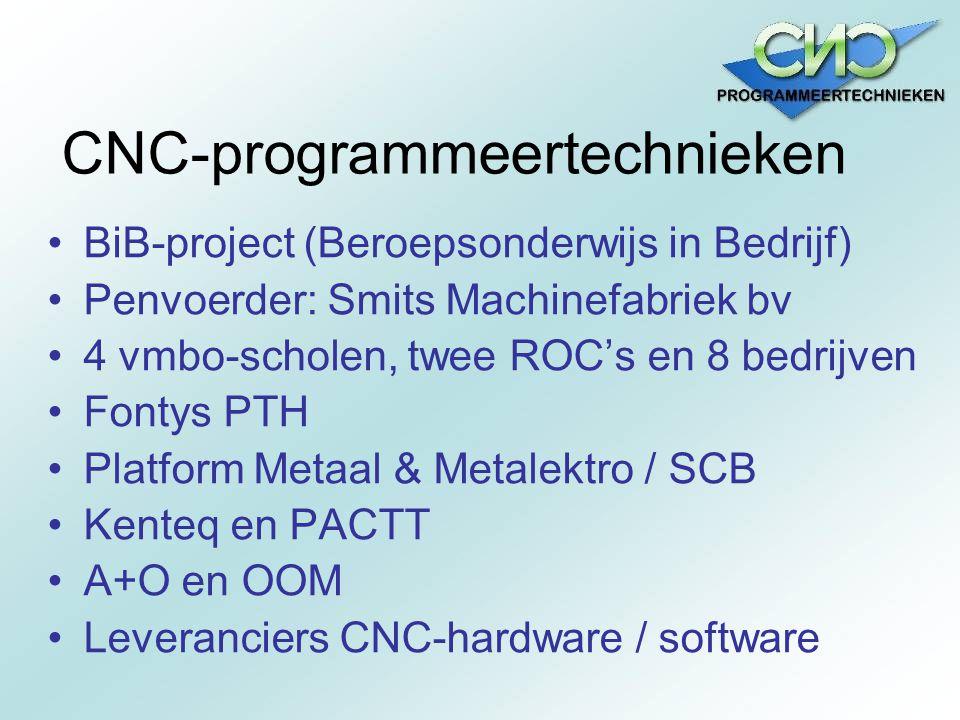 CNC-programmeertechnieken BiB-project (Beroepsonderwijs in Bedrijf) Penvoerder: Smits Machinefabriek bv 4 vmbo-scholen, twee ROC's en 8 bedrijven Font