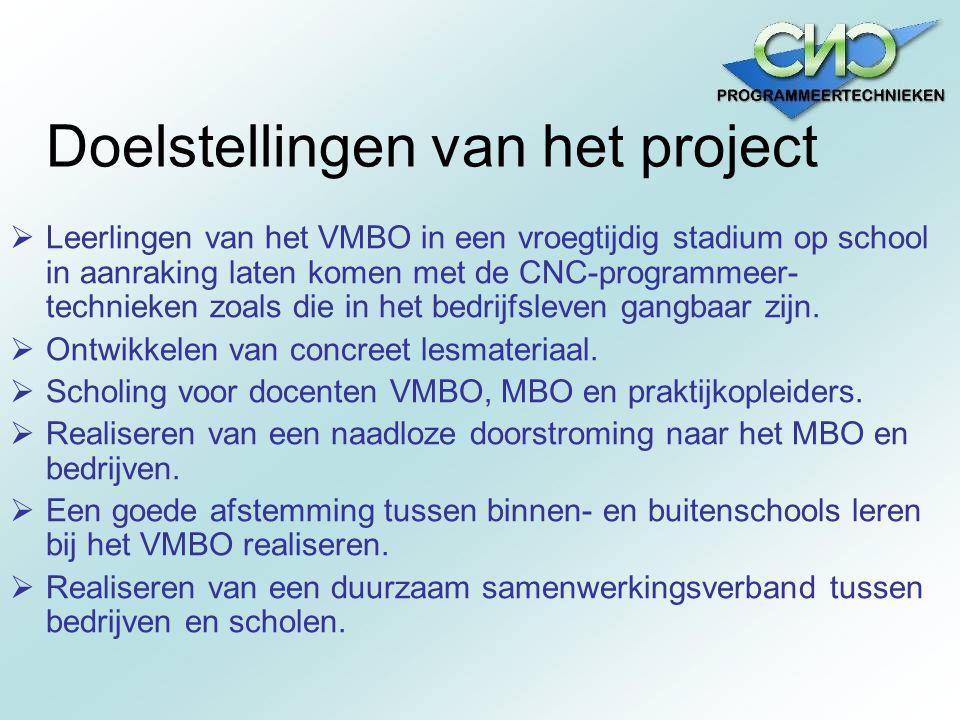 Doelstellingen van het project  Leerlingen van het VMBO in een vroegtijdig stadium op school in aanraking laten komen met de CNC-programmeer- technie