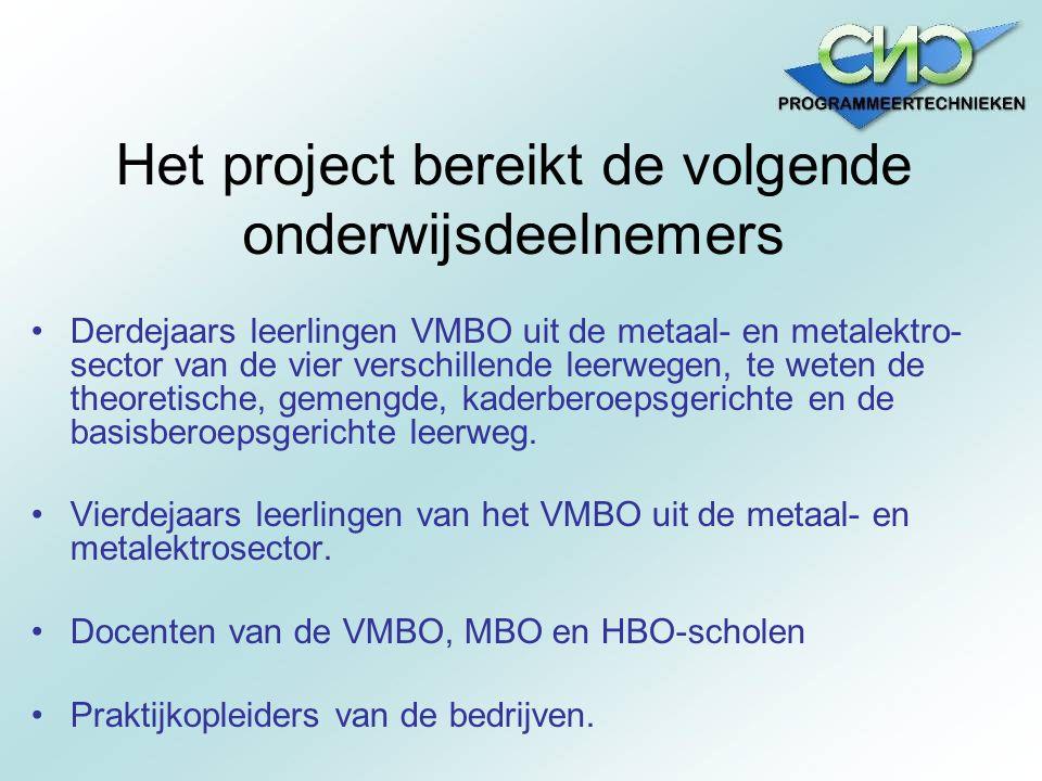 Het project bereikt de volgende onderwijsdeelnemers Derdejaars leerlingen VMBO uit de metaal- en metalektro- sector van de vier verschillende leerwege