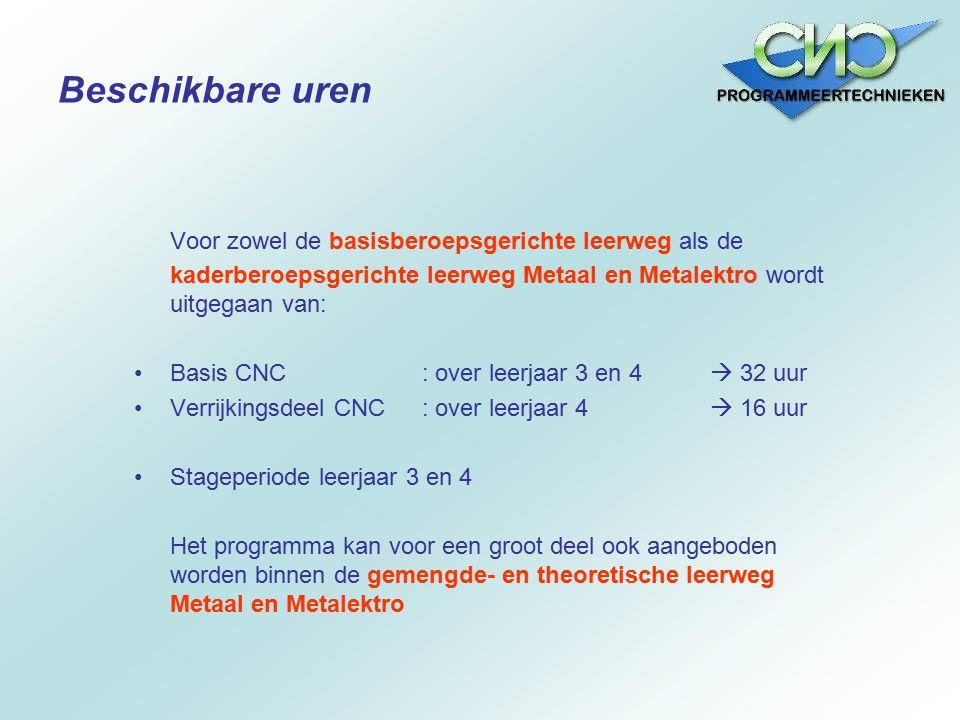 Voor zowel de basisberoepsgerichte leerweg als de kaderberoepsgerichte leerweg Metaal en Metalektro wordt uitgegaan van: Basis CNC: over leerjaar 3 en