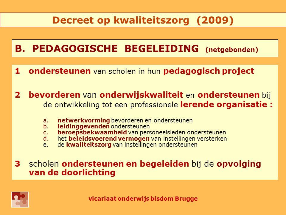 4onderwijsinnovaties aanreiken, stimuleren en ondersteunen 5nascholingsactiviteiten aanreiken en aansturen 6overleggen over onderwijskwaliteit met verscheidene onderwijsactoren 7opvolging en/of aansturen van ondersteuningsinitiatieven georganiseerd of gesubsidieerd door de Vlaamse Regering vicariaat onderwijs bisdom Brugge Decreet op kwaliteitszorg (2009)