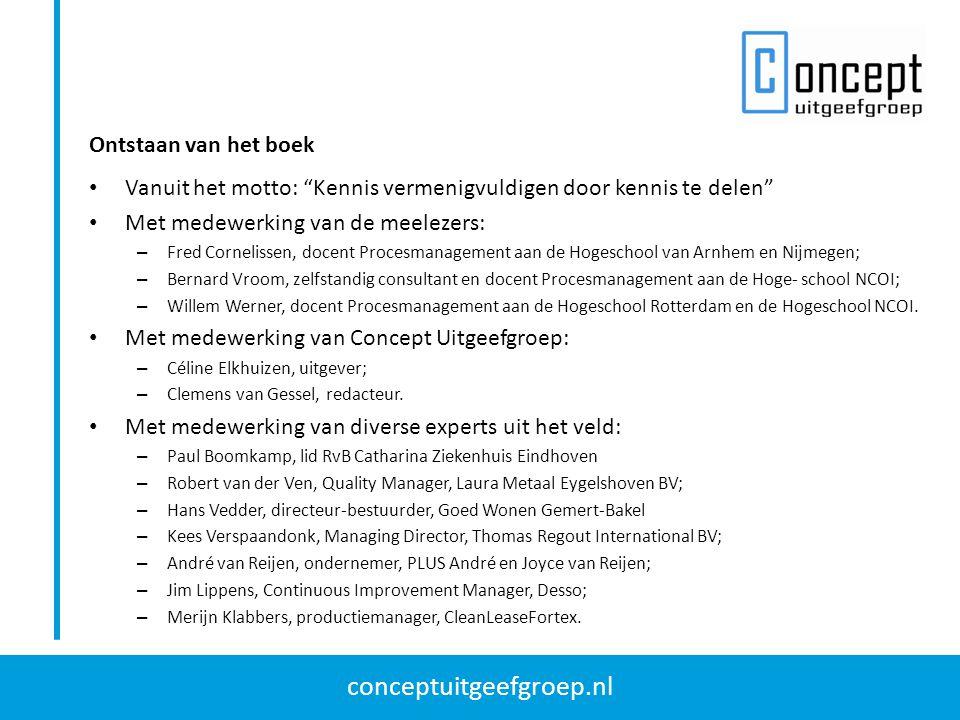 """conceptuitgeefgroep.nl Vanuit het motto: """"Kennis vermenigvuldigen door kennis te delen"""" Met medewerking van de meelezers: – Fred Cornelissen, docent P"""