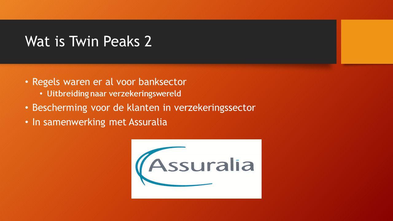 Wat is Twin Peaks 2 Regels waren er al voor banksector Uitbreiding naar verzekeringswereld Bescherming voor de klanten in verzekeringssector In samenw