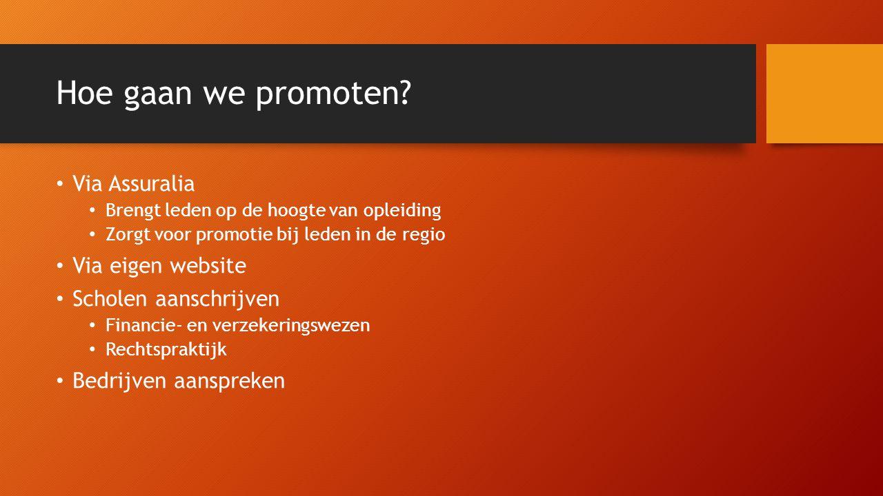 Hoe gaan we promoten? Via Assuralia Brengt leden op de hoogte van opleiding Zorgt voor promotie bij leden in de regio Via eigen website Scholen aansch