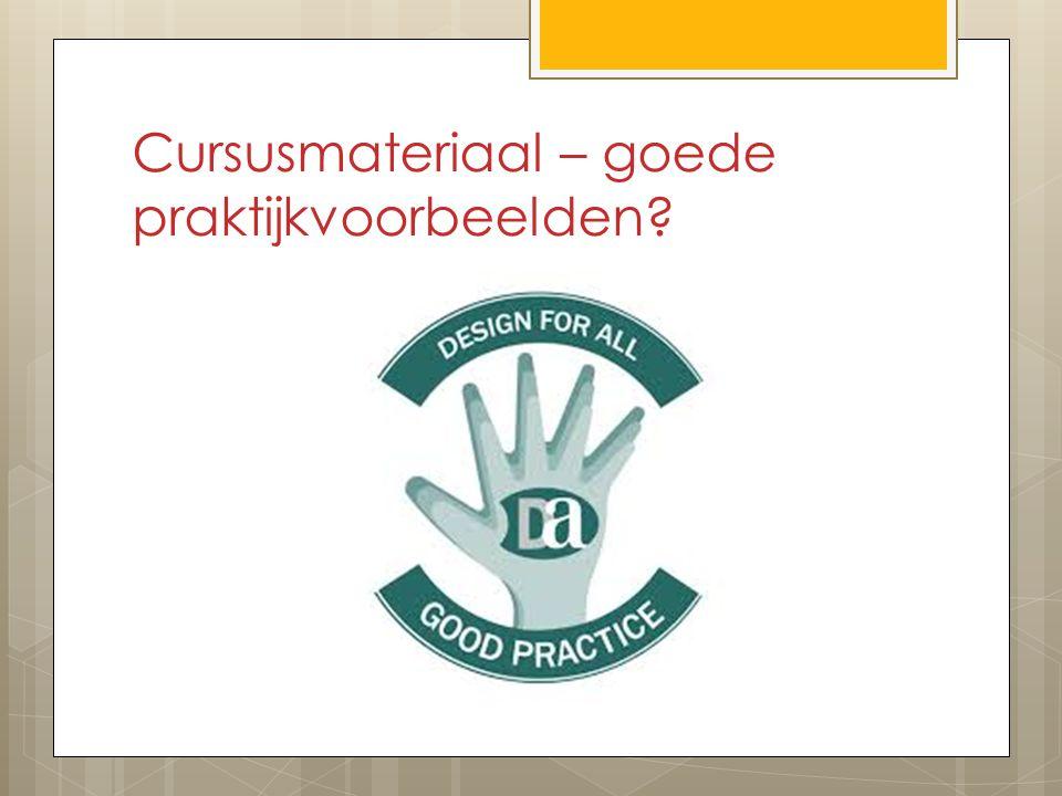 Cursusmateriaal – goede praktijkvoorbeelden?