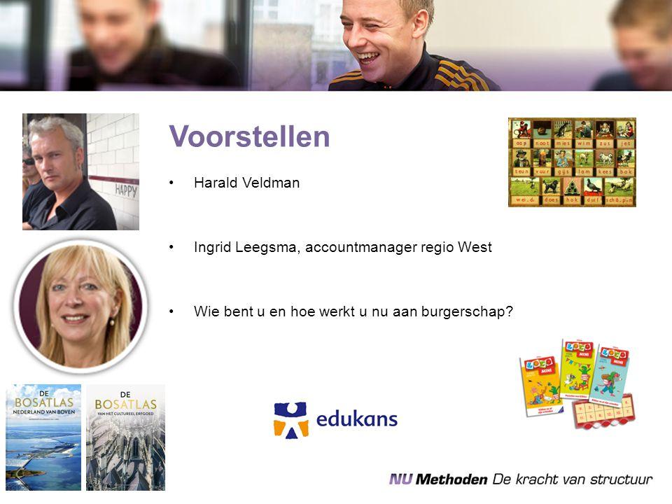 Voorstellen Harald Veldman Ingrid Leegsma, accountmanager regio West Wie bent u en hoe werkt u nu aan burgerschap?