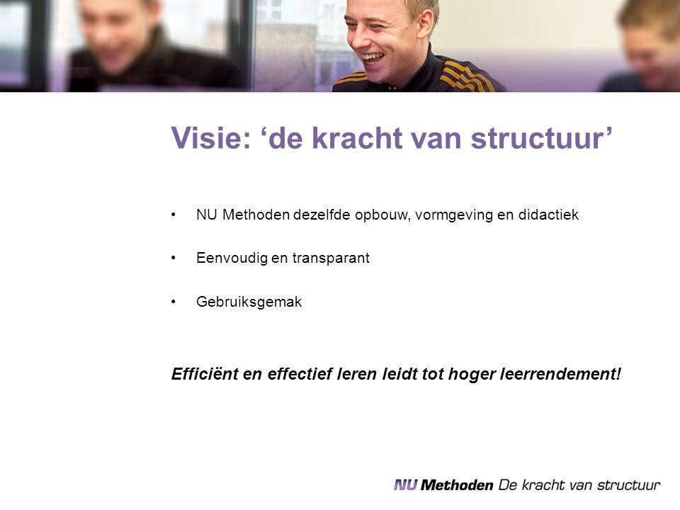 Visie: 'de kracht van structuur' NU Methoden dezelfde opbouw, vormgeving en didactiek Eenvoudig en transparant Gebruiksgemak Efficiënt en effectief le