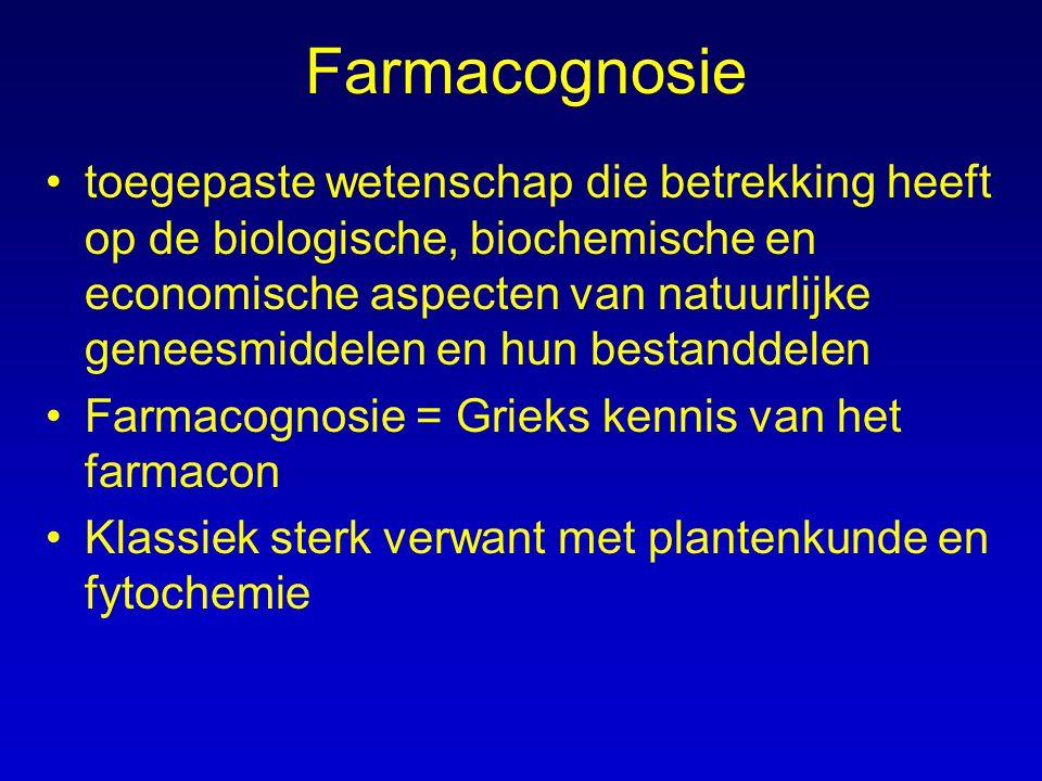 Farmacognosie toegepaste wetenschap die betrekking heeft op de biologische, biochemische en economische aspecten van natuurlijke geneesmiddelen en hun