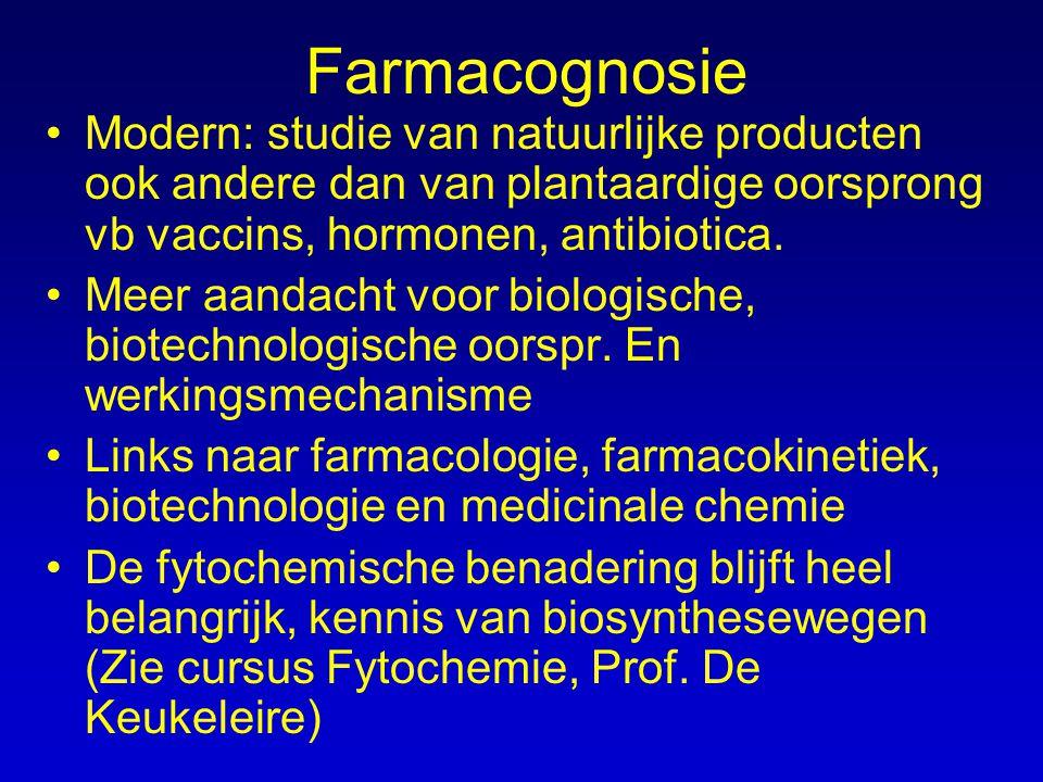 Farmacognosie Modern: studie van natuurlijke producten ook andere dan van plantaardige oorsprong vb vaccins, hormonen, antibiotica. Meer aandacht voor