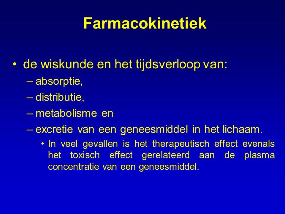 Farmacokinetiek de wiskunde en het tijdsverloop van: –absorptie, –distributie, –metabolisme en –excretie van een geneesmiddel in het lichaam. In veel