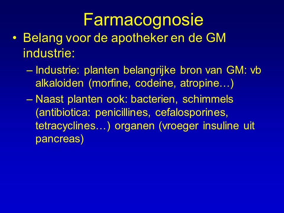 Farmacognosie Belang voor de apotheker en de GM industrie: –Industrie: planten belangrijke bron van GM: vb alkaloiden (morfine, codeine, atropine…) –N
