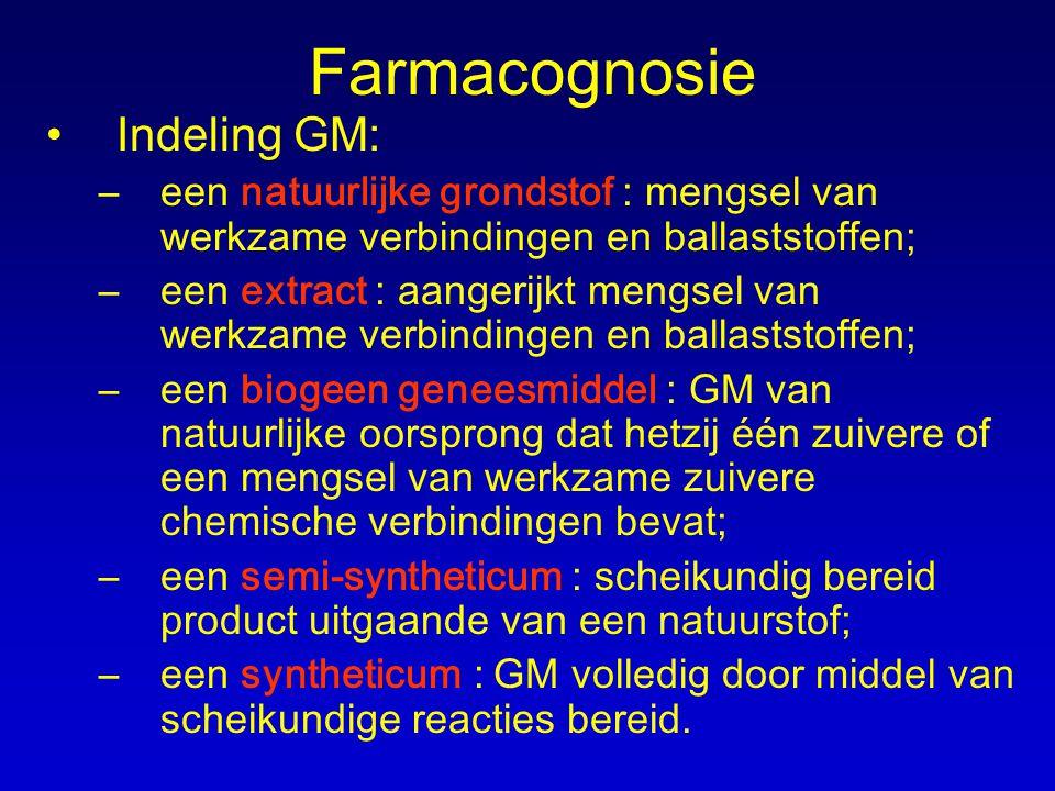 Farmacognosie Indeling GM: –een natuurlijke grondstof : mengsel van werkzame verbindingen en ballaststoffen; –een extract : aangerijkt mengsel van wer