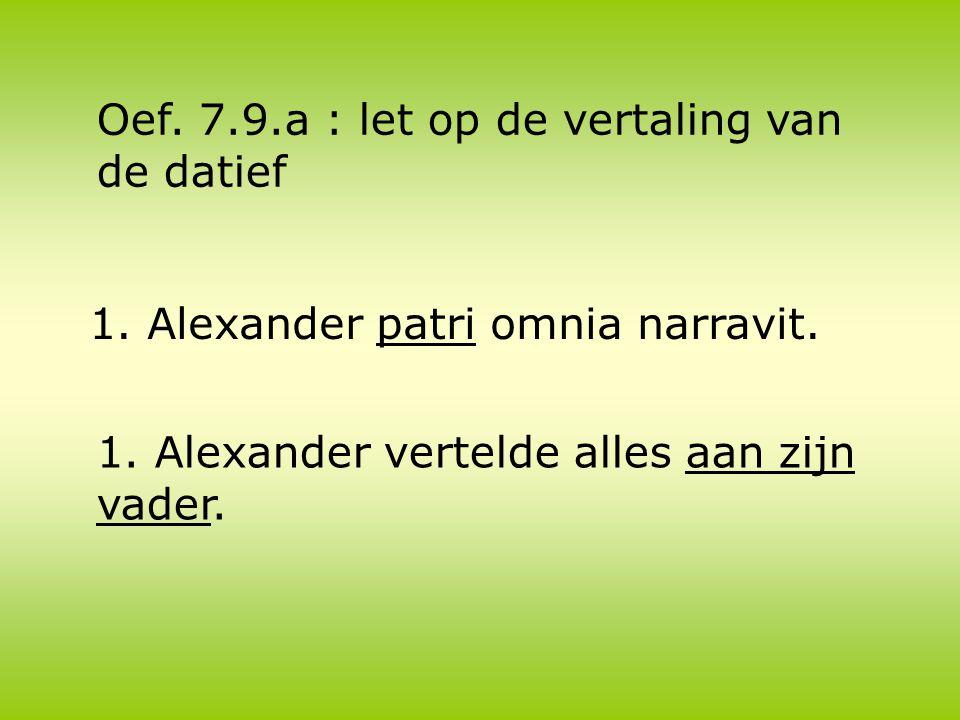 1. Alexander patri omnia narravit. 1. Alexander vertelde alles aan zijn vader.