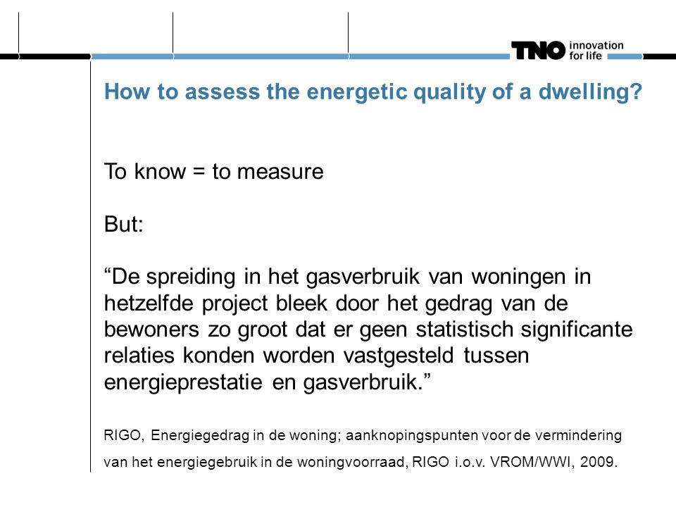 "How to assess the energetic quality of a dwelling? To know = to measure But: ""De spreiding in het gasverbruik van woningen in hetzelfde project bleek"