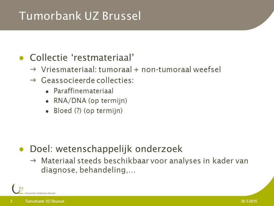 Tumorbank UZ Brussel 3 30-3-2015 Tumorbank UZ Brussel Collectie 'restmateriaal' Vriesmateriaal: tumoraal + non-tumoraal weefsel Geassocieerde collecties: Paraffinemateriaal RNA/DNA (op termijn) Bloed (?) (op termijn) Doel: wetenschappelijk onderzoek Materiaal steeds beschikbaar voor analyses in kader van diagnose, behandeling,…