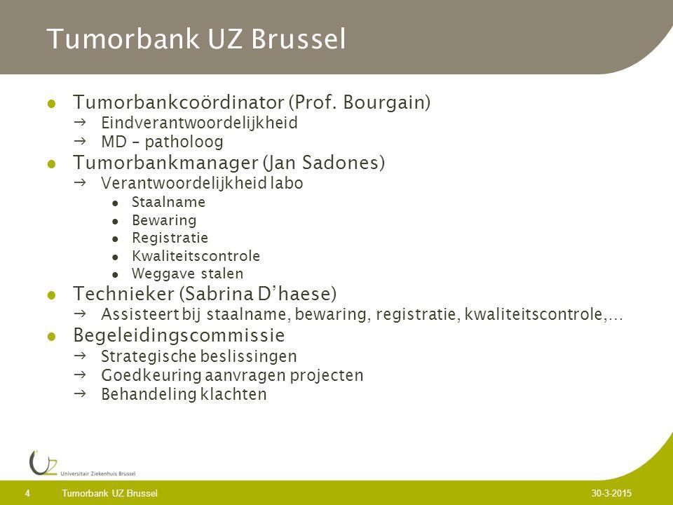 Tumorbank UZ Brussel 4 30-3-2015 Tumorbank UZ Brussel Tumorbankcoördinator (Prof.