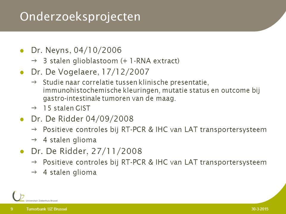 Tumorbank UZ Brussel 9 30-3-2015 Onderzoeksprojecten Dr.