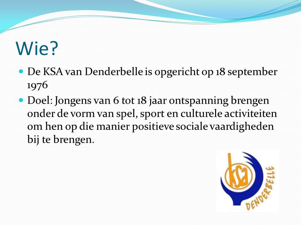 Wie? De KSA van Denderbelle is opgericht op 18 september 1976 Doel: Jongens van 6 tot 18 jaar ontspanning brengen onder de vorm van spel, sport en cul