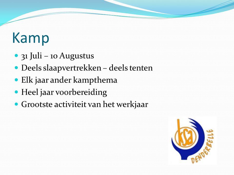 Kamp 31 Juli – 10 Augustus Deels slaapvertrekken – deels tenten Elk jaar ander kampthema Heel jaar voorbereiding Grootste activiteit van het werkjaar