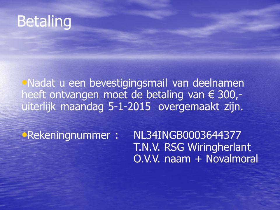 Betaling Nadat u een bevestigingsmail van deelnamen heeft ontvangen moet de betaling van € 300,- uiterlijk maandag 5-1-2015 overgemaakt zijn.