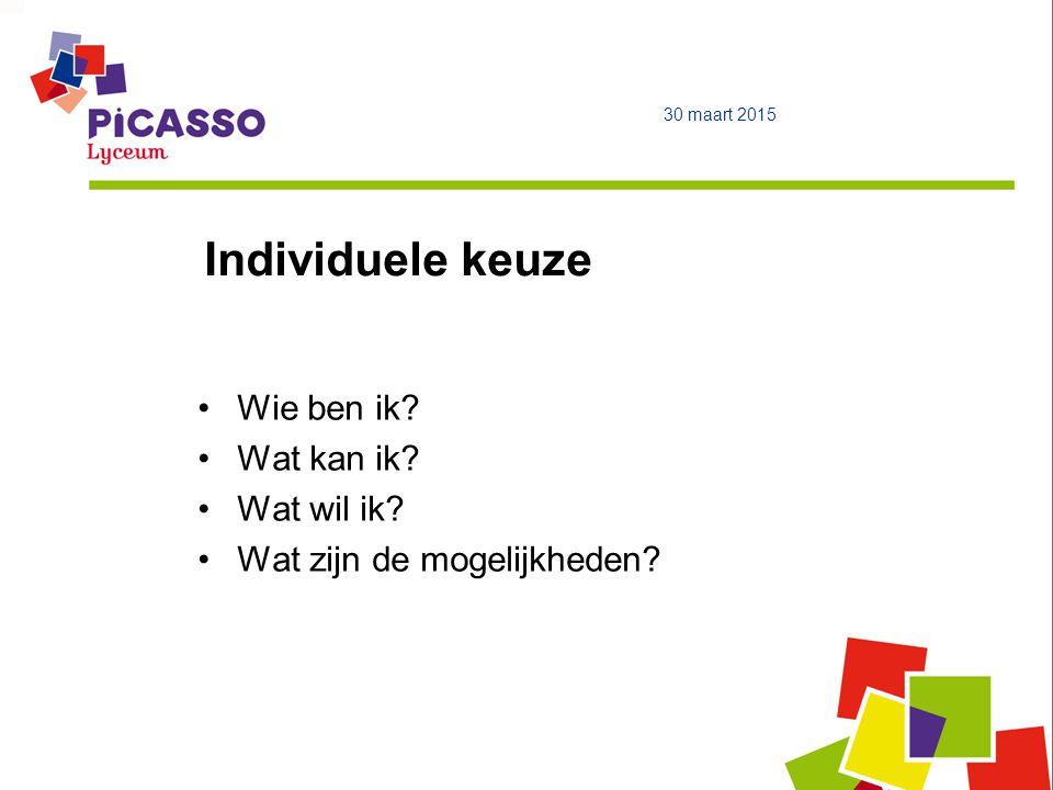Opbouw profiel Gemeenschappelijk deel Profieldeel Vrij deel 30 maart 2015