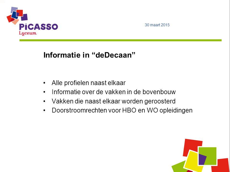 """Informatie in """"deDecaan"""" 30 maart 2015 Alle profielen naast elkaar Informatie over de vakken in de bovenbouw Vakken die naast elkaar worden geroosterd"""