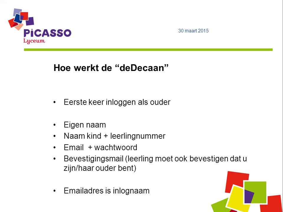 """Hoe werkt de """"deDecaan"""" 30 maart 2015 Eerste keer inloggen als ouder Eigen naam Naam kind + leerlingnummer Email + wachtwoord Bevestigingsmail (leerli"""