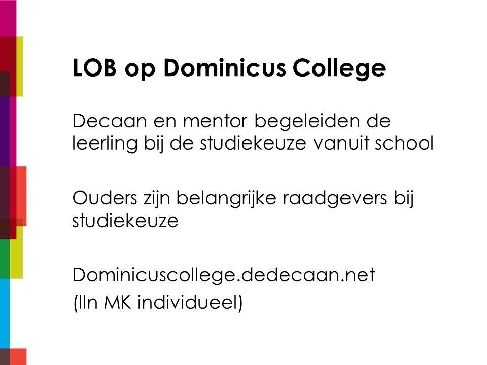 LOB op Dominicus College Decaan en mentor begeleiden de leerling bij de studiekeuze vanuit school Ouders zijn belangrijke raadgevers bij studiekeuze D