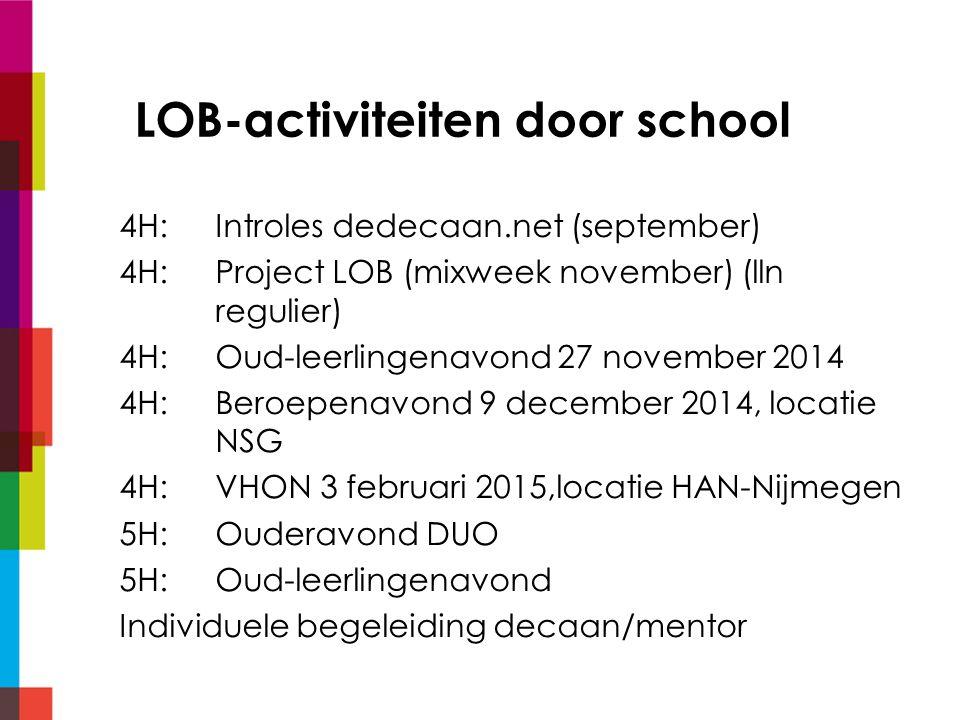 LOB-activiteiten door school 4H:Introles dedecaan.net (september) 4H: Project LOB (mixweek november) (lln regulier) 4H:Oud-leerlingenavond 27 november