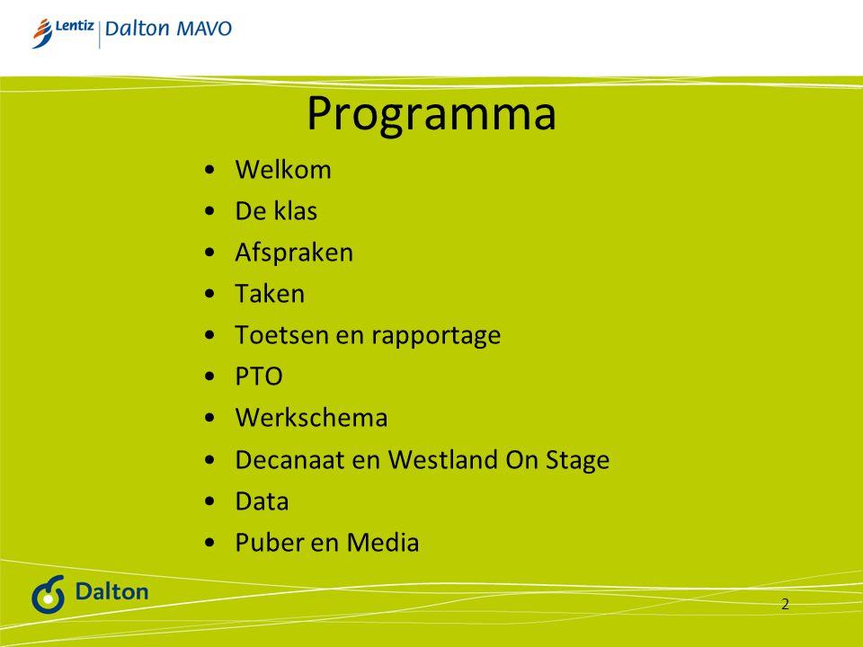 Programma Welkom De klas Afspraken Taken Toetsen en rapportage PTO Werkschema Decanaat en Westland On Stage Data Puber en Media 2