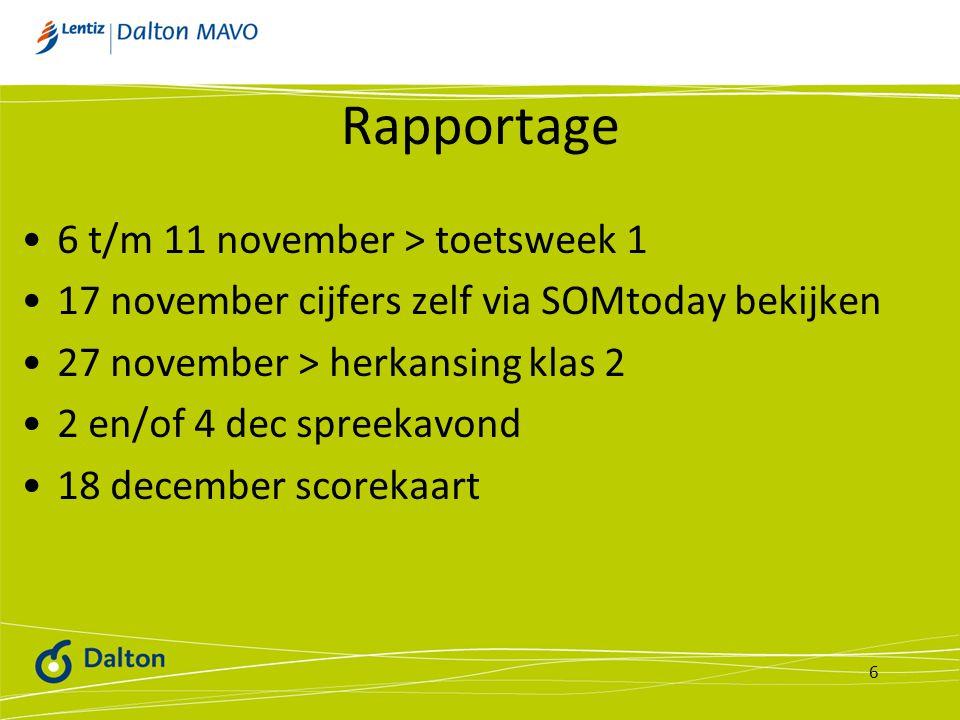 Rapportage 6 t/m 11 november > toetsweek 1 17 november cijfers zelf via SOMtoday bekijken 27 november > herkansing klas 2 2 en/of 4 dec spreekavond 18