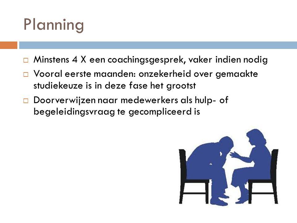 Planning  Minstens 4 X een coachingsgesprek, vaker indien nodig  Vooral eerste maanden: onzekerheid over gemaakte studiekeuze is in deze fase het gr