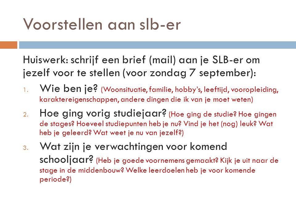 Huiswerk Voor zondag 7 september: Schrijf een brief (mail) aan je SLB-er om je voor te stellen Voor volgende bijeenkomst op 10 september: Neem een klassenfoto mee van één van je eigen vroegere klassen op de basisschool