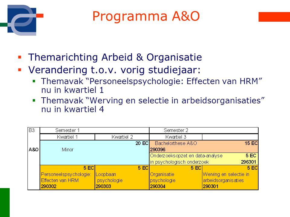 """Programma A&O  Themarichting Arbeid & Organisatie  Verandering t.o.v. vorig studiejaar:  Themavak """"Personeelspsychologie: Effecten van HRM"""" nu in k"""