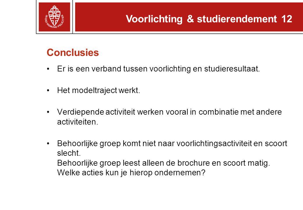 Voorlichting & studierendement 12 Conclusies Er is een verband tussen voorlichting en studieresultaat. Het modeltraject werkt. Verdiepende activiteit