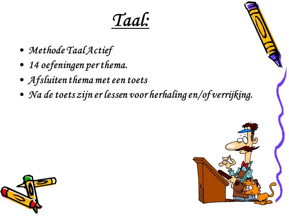 Taal: Methode Taal Actief 14 oefeningen per thema. Afsluiten thema met een toets Na de toets zijn er lessen voor herhaling en/of verrijking.