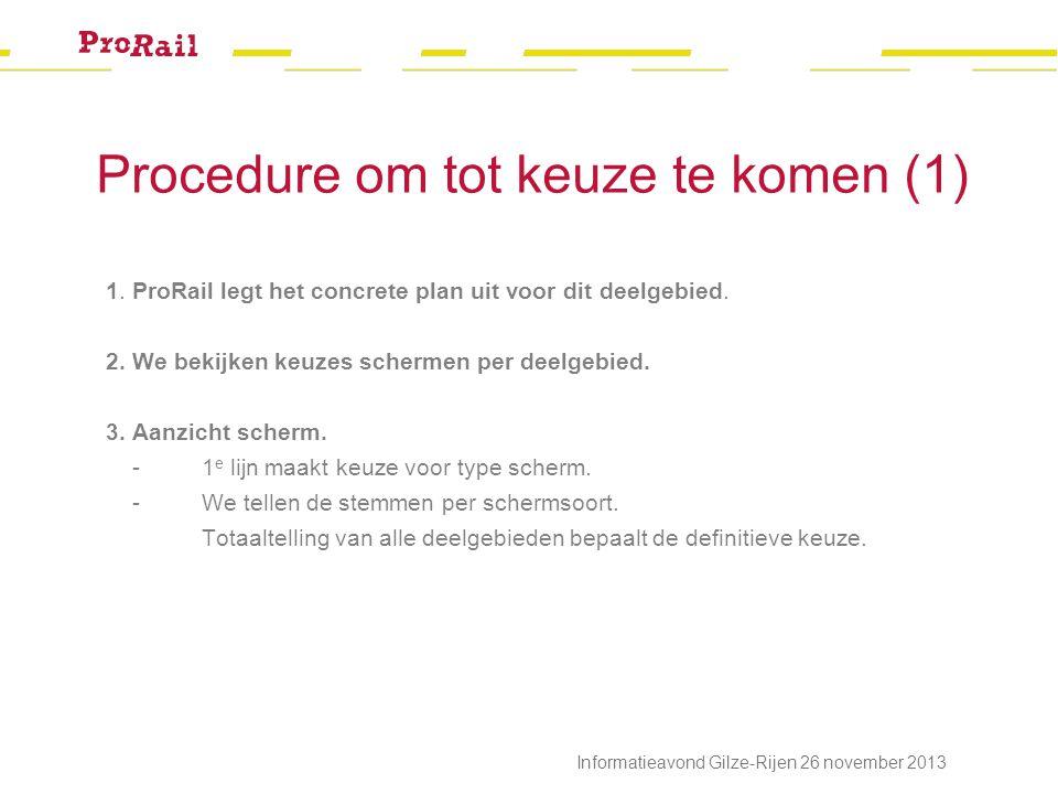 Procedure om tot keuze te komen (1) 1. ProRail legt het concrete plan uit voor dit deelgebied.
