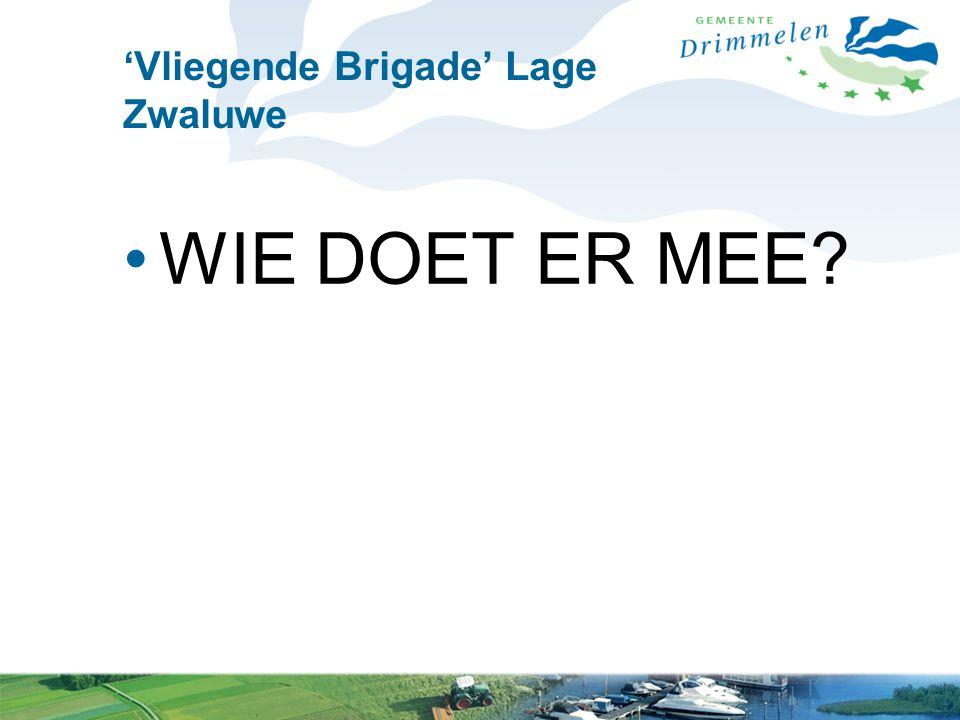 'Vliegende Brigade' Lage Zwaluwe WIE DOET ER MEE?