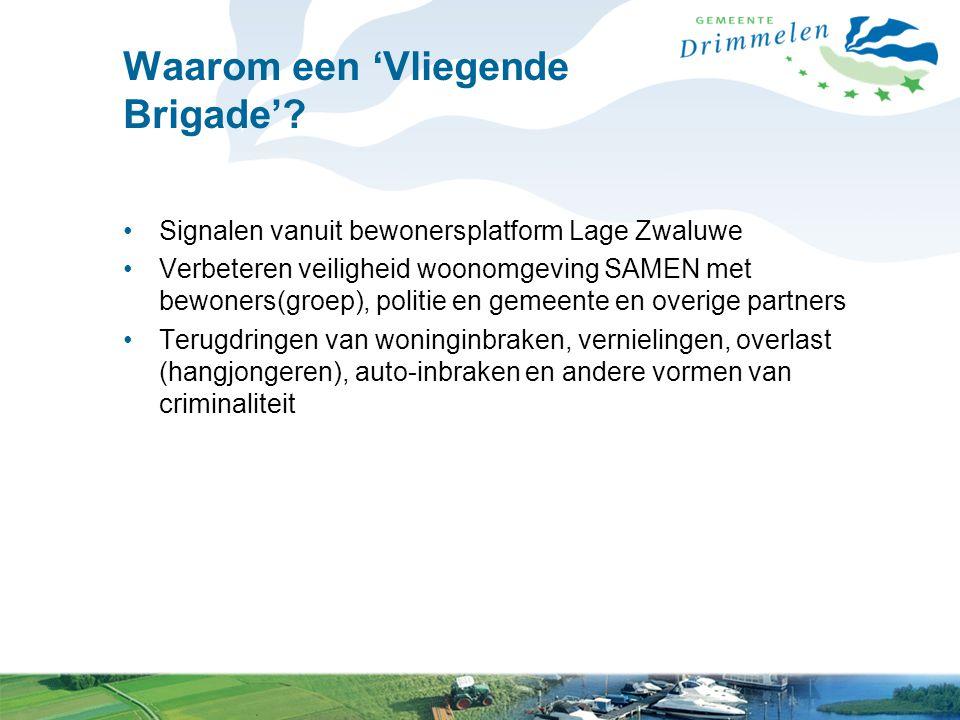 Waarom een 'Vliegende Brigade'? Signalen vanuit bewonersplatform Lage Zwaluwe Verbeteren veiligheid woonomgeving SAMEN met bewoners(groep), politie en