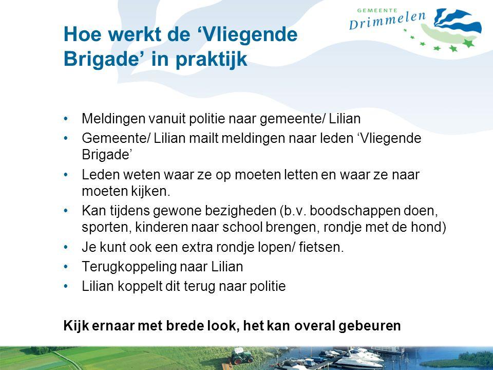 Hoe werkt de 'Vliegende Brigade' in praktijk Meldingen vanuit politie naar gemeente/ Lilian Gemeente/ Lilian mailt meldingen naar leden 'Vliegende Bri