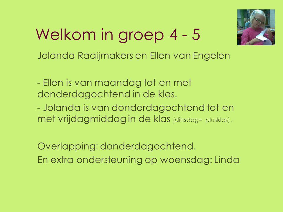 Welkom in groep 4 - 5 Jolanda Raaijmakers en Ellen van Engelen - Ellen is van maandag tot en met donderdagochtend in de klas. - Jolanda is van donderd