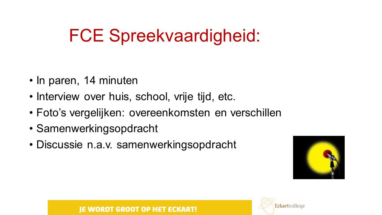 FCE Spreekvaardigheid: In paren, 14 minuten Interview over huis, school, vrije tijd, etc. Foto's vergelijken: overeenkomsten en verschillen Samenwerki