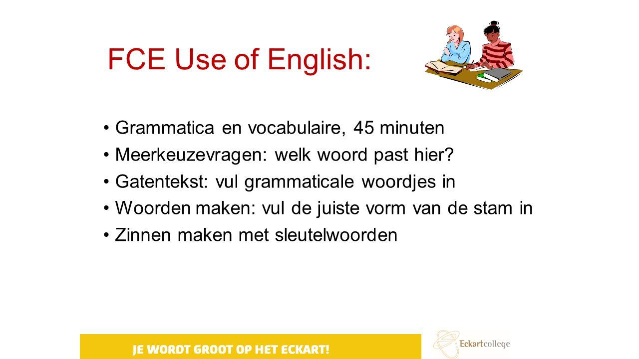FCE Use of English: Grammatica en vocabulaire, 45 minuten Meerkeuzevragen: welk woord past hier? Gatentekst: vul grammaticale woordjes in Woorden make