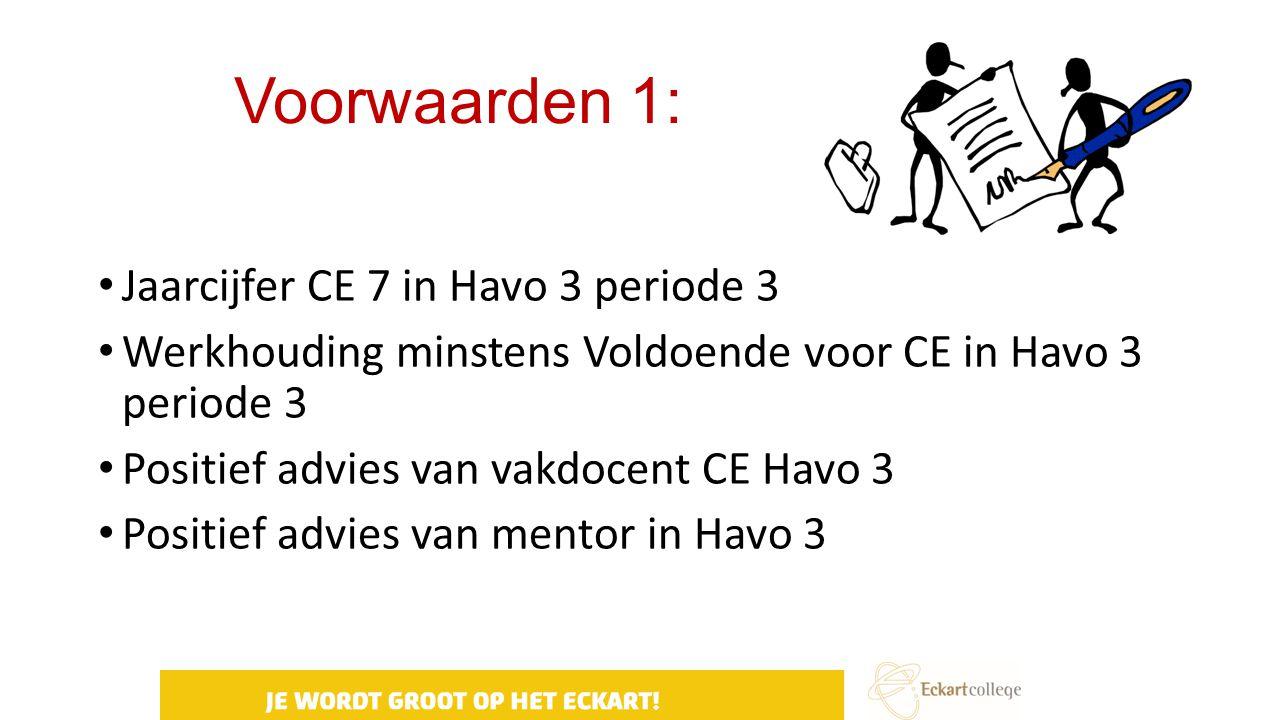Voorwaarden 1: Jaarcijfer CE 7 in Havo 3 periode 3 Werkhouding minstens Voldoende voor CE in Havo 3 periode 3 Positief advies van vakdocent CE Havo 3