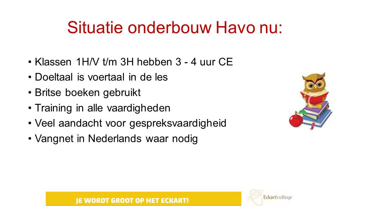 Situatie onderbouw Havo nu: Klassen 1H/V t/m 3H hebben 3 - 4 uur CE Doeltaal is voertaal in de les Britse boeken gebruikt Training in alle vaardighede
