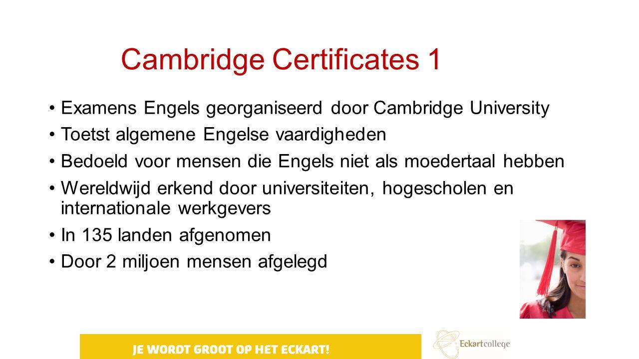Cambridge Certificates 1 Examens Engels georganiseerd door Cambridge University Toetst algemene Engelse vaardigheden Bedoeld voor mensen die Engels ni