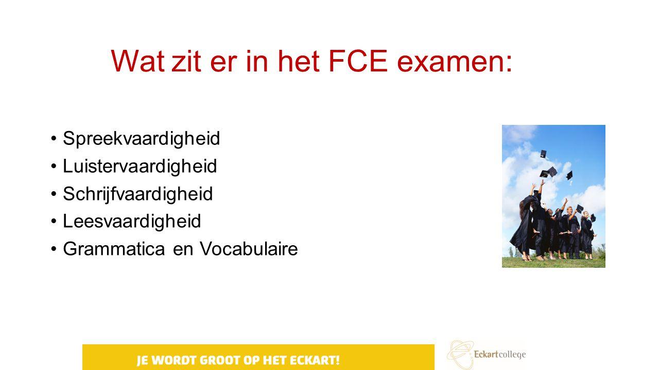 Wat zit er in het FCE examen: Spreekvaardigheid Luistervaardigheid Schrijfvaardigheid Leesvaardigheid Grammatica en Vocabulaire